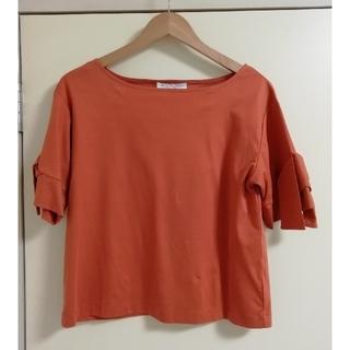 オペークドットクリップ(OPAQUE.CLIP)のOPAQUE.CLIPリボン袖トップス(カットソー(半袖/袖なし))