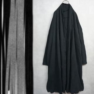 Big size コットン 羽織 ロングコート 黒