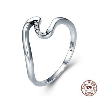 E-151 スターリングシルバー 925 リング 14号相当 指輪 幾何 水の波(リング(指輪))