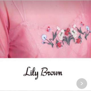 リリーブラウン(Lily Brown)の★LilyBrown★ リリーブラウン 花 刺繍 シースルー Tシャツ トップス(Tシャツ(半袖/袖なし))
