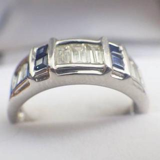 男女兼用 天然ダイヤ 0.90ct ブルーサファイア PT900 リング(リング(指輪))