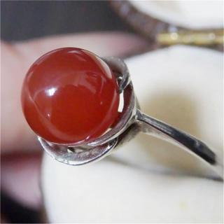 即購入OK♡V094赤瑪瑙メノウ?のひねり梅シルバーリングヴィンテージ指輪(リング(指輪))