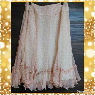 ルネ(René)のルネ シルクスカート シフォン スカート ピンク花柄スカート ピンクスカート (ひざ丈スカート)