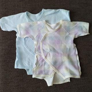 ニシマツヤ(西松屋)の新生児ワンタッチ肌着 二枚セット50〜60サイズ(肌着/下着)