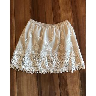 ビッキー(VICKY)のVICKY 刺繍•フリンジスカート(ひざ丈スカート)