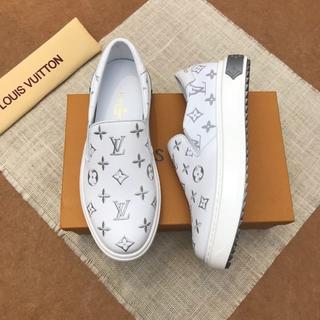 ルイヴィトン(LOUIS VUITTON)の値下げ LOUIS VUITTON メンズ 靴 スリッポン 白 25.5cm(スリッポン/モカシン)