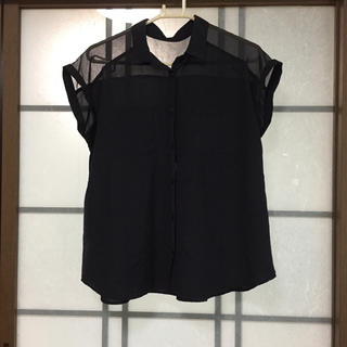GU - ブラウス  フレンチスリーブ  黒  L
