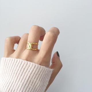 アメリヴィンテージ(Ameri VINTAGE)の【シルバー925】ゴールドデザインリング(リング(指輪))