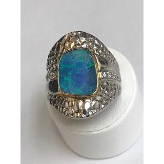 Pt900/K18 ボルダーオパールリング 5.60ct ダイヤモンド付(リング(指輪))