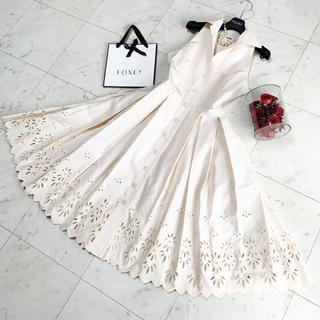 フォクシー(FOXEY)の新品同様 フォクシー カットワーク  シルク ワンピース ドレス(ミディアムドレス)