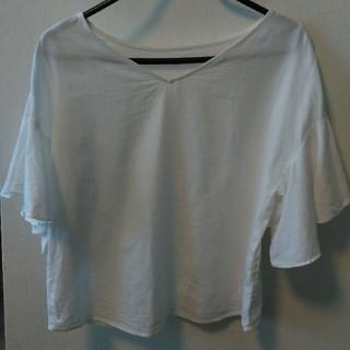 ジーユー(GU)のGU  リネンブレンドフレアスリーブブラウス(半袖)(シャツ/ブラウス(半袖/袖なし))