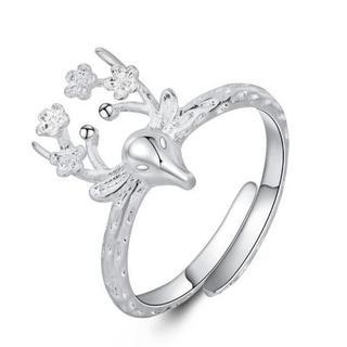 可愛いトナカイ鹿の顔シルバーリング(リング(指輪))