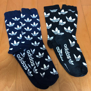 adidas アディダス 総柄 靴下 ソックス 2足(ブラック/ネイビー)