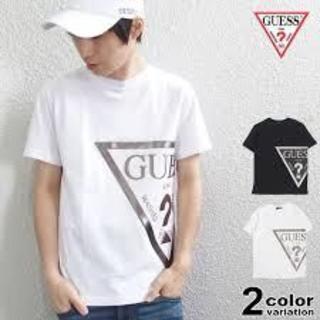 GUESSトライアングルロゴ発泡ラメプリントTシャツ★L(Tシャツ/カットソー(半袖/袖なし))