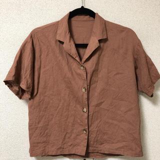 ジーユー(GU)のgu 開襟シャツ ブラウン 茶色 リネン S(シャツ/ブラウス(半袖/袖なし))