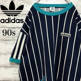 アディダス(adidas)の【日本製】90s 古着 アディダス ストライプ Tシャツ デサント製 Lサイズ(Tシャツ/カットソー(半袖/袖なし))