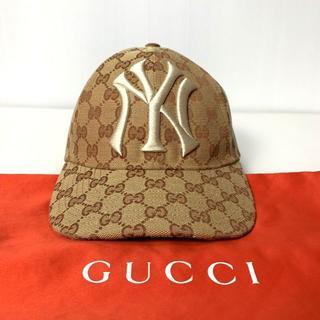 グッチ(Gucci)の【H】18AW グッチ ヤンキース GGキャンバス ベースボールキャップ 帽子(キャップ)