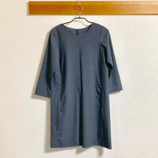 MUJI (無印良品) - 無印良品 八分袖ワンピース グレー