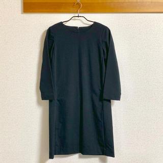 MUJI (無印良品) - 無印良品 八分袖ワンピース ブラック