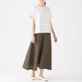 ムジルシリョウヒン(MUJI (無印良品))の無印 今期 リネン イージーマキシフレアスカート カーキ  スカート 無印良品(ロングスカート)