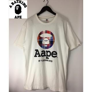 アベイシングエイプ(A BATHING APE)のAape エーエイプ ビックロゴプリントTシャツ 白 ホワイト XL(Tシャツ/カットソー(半袖/袖なし))