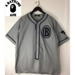 A BATHING APE - APE アベイシングエイプ 半袖ボタンダウン ベースボールシャツ グレー灰色 L