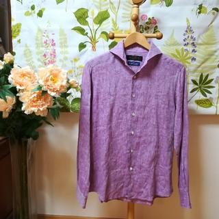 nano・universe - ✨TESSITURA MONTI モンティ生地の長袖シャツSサイズ♪紫色の麻
