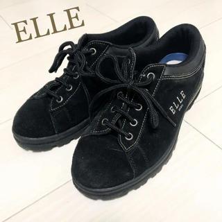 エル(ELLE)の美品!ELLE 23.5 ブラック ロゴ スニーカー(スニーカー)
