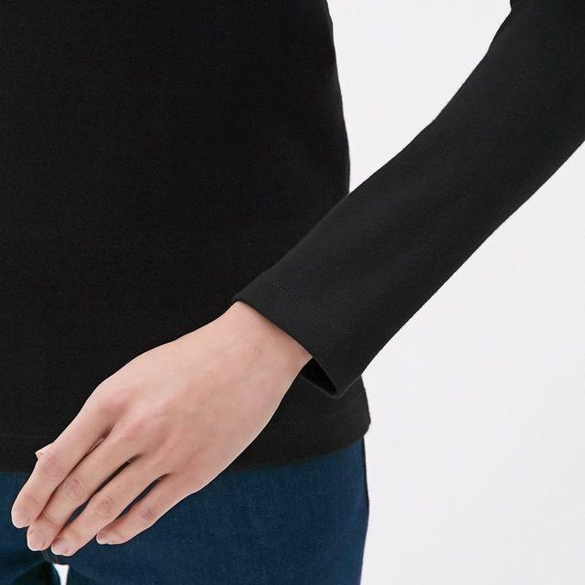 GU(ジーユー)の新品タグ付き Mブラック 長袖クルーネックTシャツ 綿100% 匿名配送 レディースのトップス(Tシャツ(長袖/七分))の商品写真
