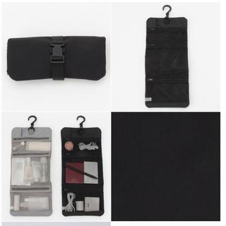 ムジルシリョウヒン(MUJI (無印良品))の<1回使用> ポリエステル吊るせるケース小物ポケット 黒・約12×18cm(旅行用品)