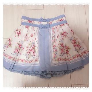 リズリサ(LIZ LISA)のLIZLISA スカパン ブルー 薔薇(ミニスカート)