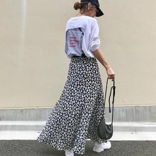 ZARA - 花柄 マキシ丈スカート