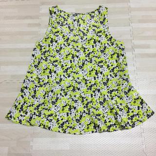 ジーユー(GU)のノースリーブ 花柄 トップス(シャツ/ブラウス(半袖/袖なし))