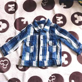 ブリーズ(BREEZE)のBREEZE ブリーズ キッズ 男の子 チェック シャツ アウター ブルー 90(ジャケット/上着)