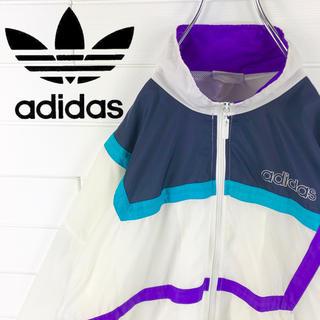 アディダス(adidas)のアディダス 90s ナイロンジャケット トレフォイルロゴ プリントロゴ ゆるだほ(ナイロンジャケット)