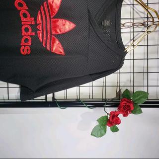 アディダス(adidas)のadidas 90s トレフォイルロゴ ゲームシャツ 黒赤 メッシュ アディダス(Tシャツ/カットソー(半袖/袖なし))