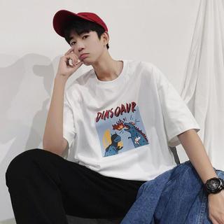 韓国ファッション メンズ トップス 半袖tシャツ カジュアル トレンド プリント(Tシャツ/カットソー(半袖/袖なし))