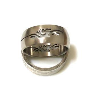 同時購入で300円 ステンレス指輪 紋様(リング(指輪))