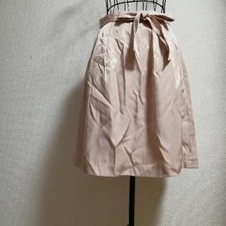 ナチュラルビューティーベーシック(NATURAL BEAUTY BASIC)のスカート フレアー ミニ 膝丈 タック リボン  ピンク パール ベーシック(ひざ丈スカート)