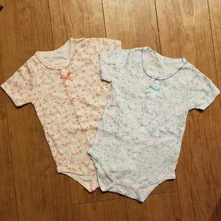 ニシマツヤ(西松屋)の半袖ロンパース80 2枚組(肌着/下着)
