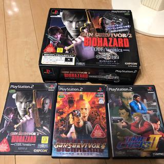プレイステーション2(PlayStation2)のプレステ2ガンコントローラとソフト(家庭用ゲームソフト)