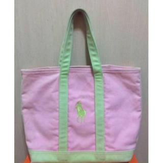 ポロラルフローレン(POLO RALPH LAUREN)の本物ラルフローレンビックポニーのハンドバック ピンク×グリーン (トートバッグ)