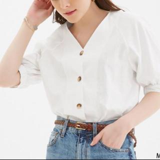 ジーユー(GU)のGU  フロントボタンブラウスXS  タグ付き(シャツ/ブラウス(半袖/袖なし))