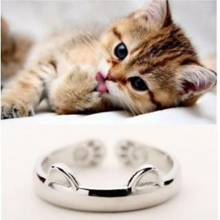 14-19号☆光沢タイプ 猫耳 肉球 リング 指輪(リング(指輪))