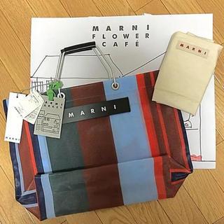 マルニ(Marni)の《MARNI》マルニフラワーカフェ ストライプバッグ ラッカーレッド(トートバッグ)