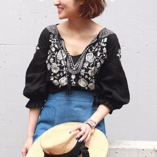 IENA - イエナ IENA エンブロイダリー 刺繍 ブラウス 長袖 7分袖 ブラック