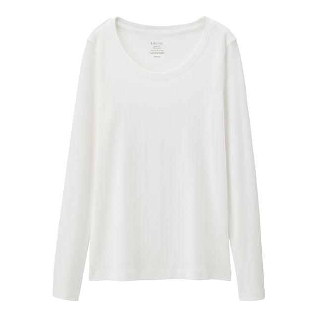GU(ジーユー)の新品タグ付き XLホワイト 長袖クルーネックTシャツ 綿100% 匿名配送 レディースのトップス(Tシャツ(長袖/七分))の商品写真