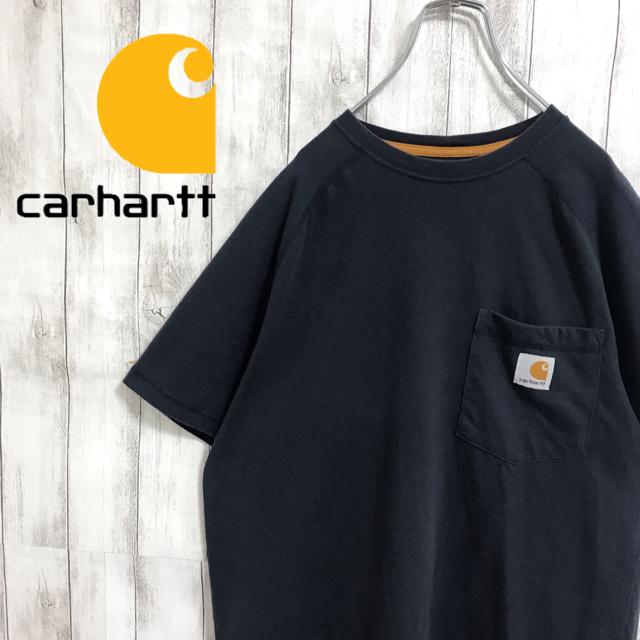carhartt(カーハート)の90s 古着 carhartt カーハート ワンポイントロゴ ネイビー Tシャツ メンズのトップス(Tシャツ/カットソー(半袖/袖なし))の商品写真