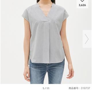 ジーユー(GU)のストライプスキッパーシャツ(半袖) Mサイズ(シャツ/ブラウス(半袖/袖なし))