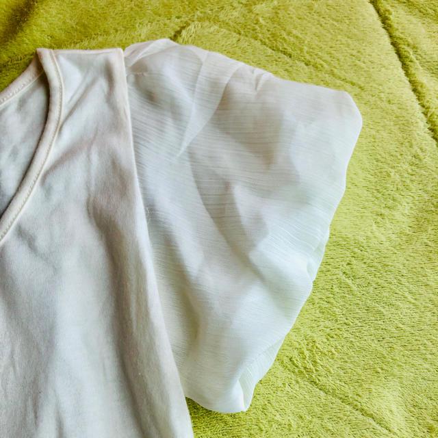 mysty woman(ミスティウーマン)の肩シフォンTシャツ レディースのトップス(Tシャツ(半袖/袖なし))の商品写真